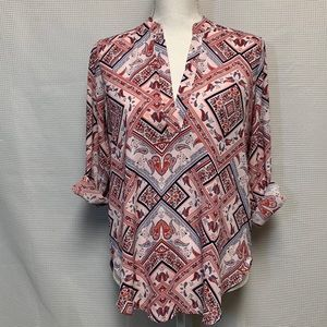 Lush Tabbed Sleeve Blouse Size S